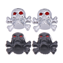 4Pcs/pack Skull head Shape Universal Auto Bicycle Car Tire Valve Cap Tyre Wheel Air Stems Cover bike presta valve cap Bike Parts