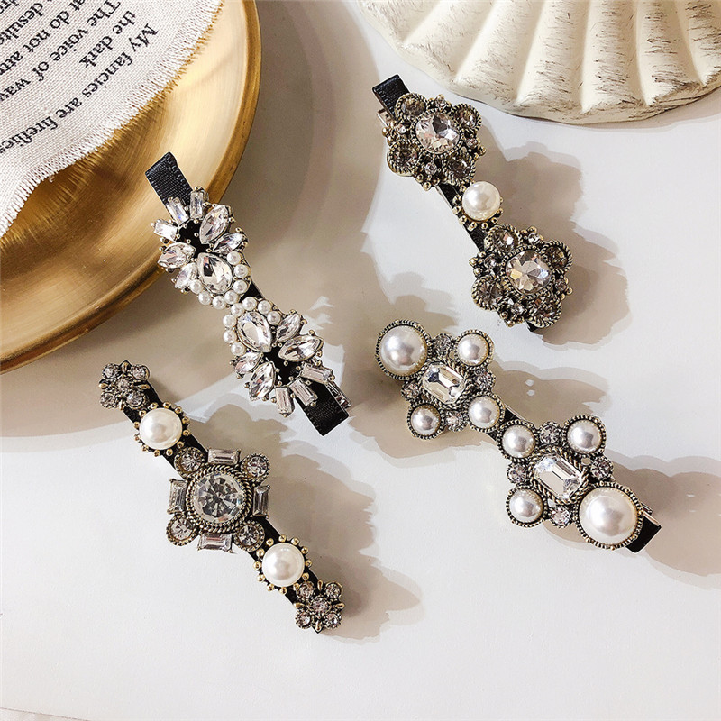 New Trendy Hair Accessories Vintage Crystal Flower Simulated Pearl Cross Barrettes Hair Clips Pins Korean Fashion Hairgrips Gift