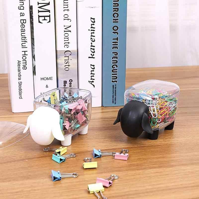 Criativo Bonito À Prova de Poeira Transparente Tanque de Armazenamento de Armazenamento De Mesa De Plástico Em Forma de Ovelha Palito Caixa de Cotonete Caixa De Clipes De Papel