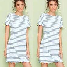 2019 New Womens Harajuku Stripe Midi Dress Casual Circular Tassels Summer Beach wear O Neck Tunic Dresses Sundress Vestidos