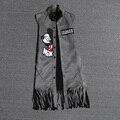 2016 del otoño del resorte de las mujeres nuevo chaleco largo outcoat ratón de dibujos animados cartas apliques borla rebeca ocasional chalecos outwear NS199