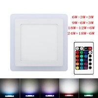 RGB Led Panel Light 6w 9w 18w 24W Ultra Thin Recessed LED Ceiling Downlight Acrylic Panel