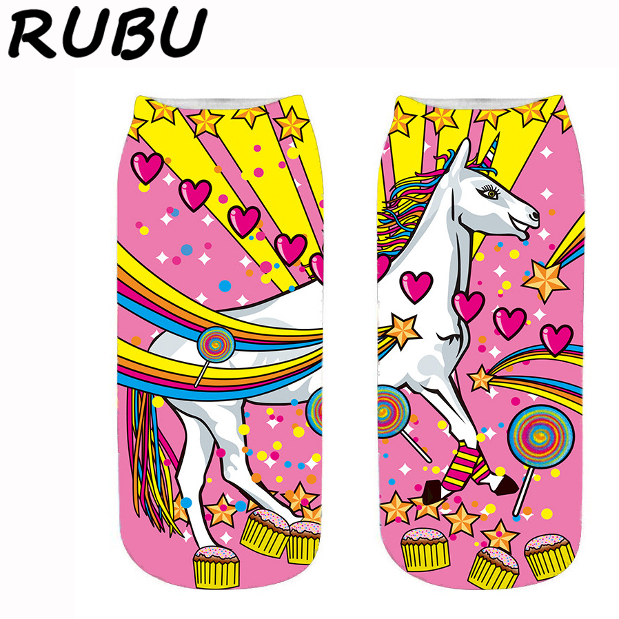 RUBU Harajuku 3D Print Unicorn Socks Women Ankle Socks Funny Cotton Femme Kawaii Meias Women's Short Socks 7VB172