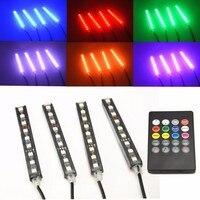 4Pcs 12V Car RGB LED DRL Strip Light 5050SMD Car Auto Remote Control Decorative Flexible LED