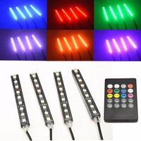 4Pcs 12V Car RGB LED DRL Strip Light 5050SMD Car Auto Remote Control Decorative Flexible LED