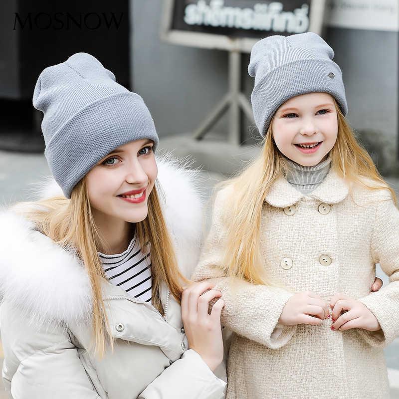Chapéus de inverno pai criança algodão moda alta qualidade 2019 malha marca nova crianças chapéu feminino skullies bonnet # mz238e