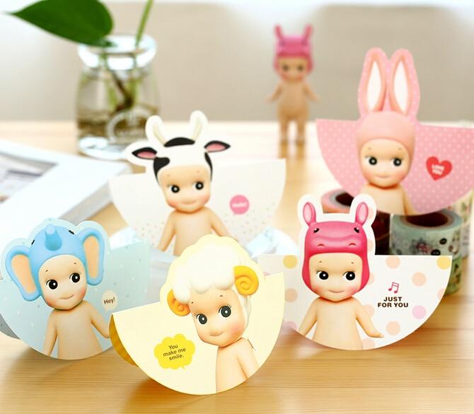 2pcslot Creative Kawaii Baby Design Greeting Cards Gift Birthday