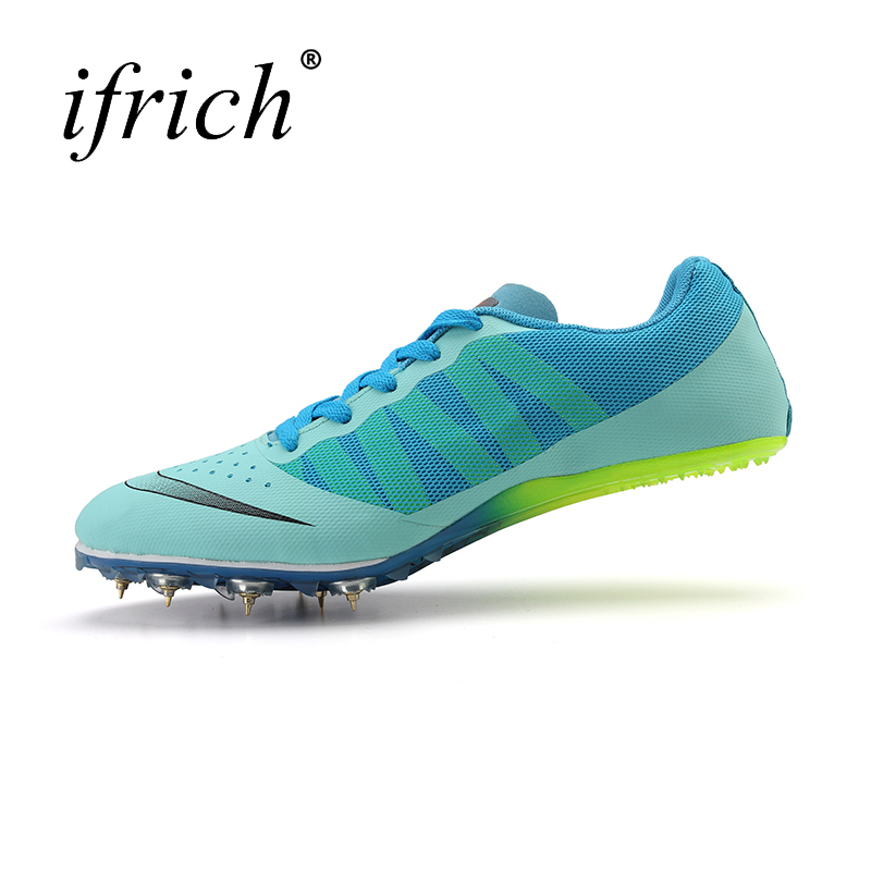 Ifrich New Arrival Man Professional Training Sprint Running Shoes Lace Up Training Shoes Blue Green Track & Field Sneakers gogoruns men sprint spikes running shoes boy students examination track and field nail shoes sneakers men