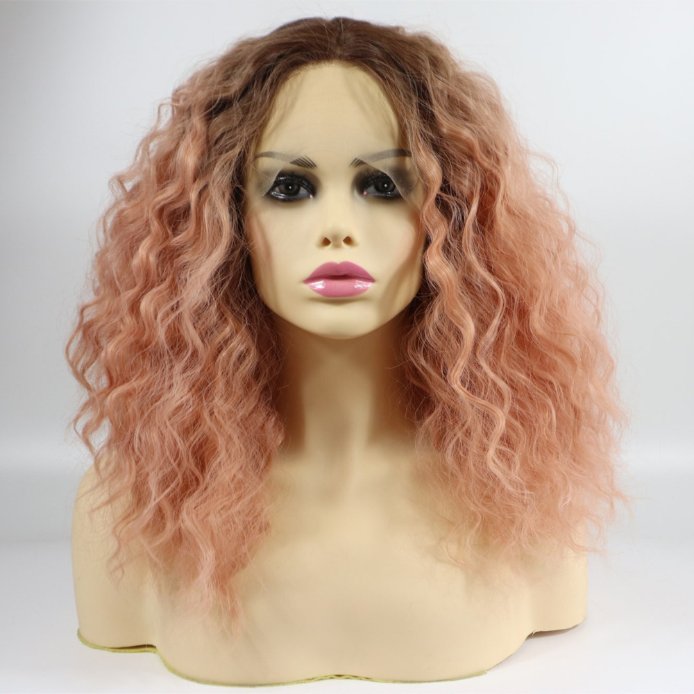 Marquesha Short Bob Lace Front Wig Synthetic 2 Tones Ombre Dark Roots to Pastel Pink Wig Glueless Wave Hair Heat Resistant Fiber