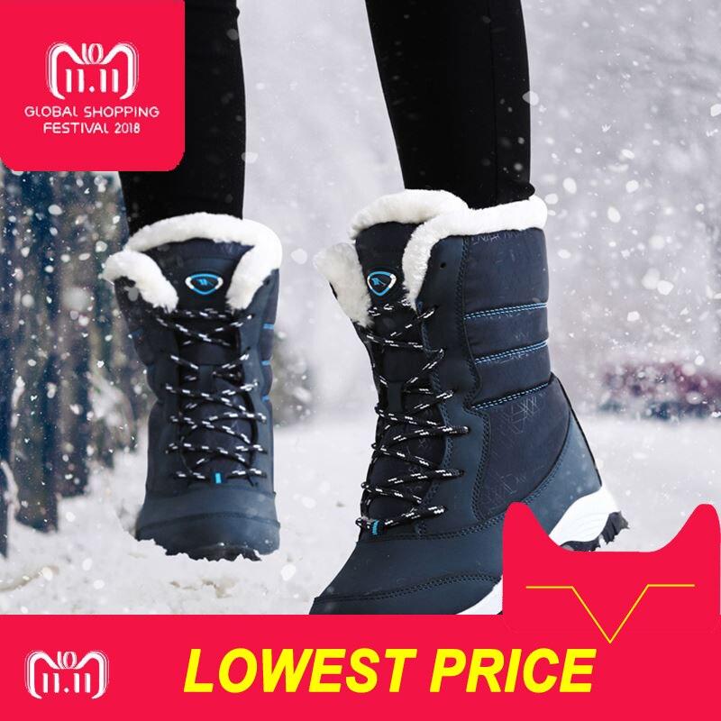 Botas de mujer antideslizante impermeable de invierno de nieve tobillo botas de plataforma de las mujeres zapatos de invierno con gruesa piel botas mujer