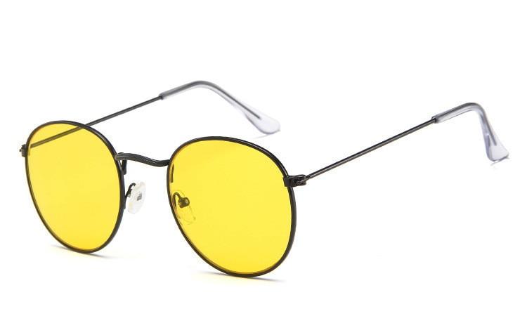 211d36834f DJXFZLO gafas De Sol ovaladas Retro De diseñador De marca vintage pequeñas  gafas De Sol negras Rojas amarillas