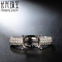 Cushion Cut 7x9mm 18k White Gold 0.68ct Halo Diamond Semi Mount Ring Settings Design Legacy Ring