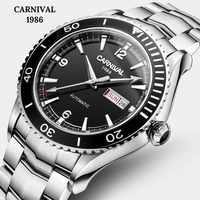 Carnaval Japón movimiento importado relojes mecánicos zafiro espejo acero completo reloj hombres buceo 50M marca de lujo reloj automático