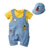 Kids Baby Boy Girl Clothes Stripe Hat+yellow Top+stripe Patch Bib Pants Set Summer Fashion Children Baby Boy Girl Clothes Suit
