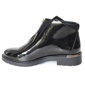 Image 4 - XAXBXC 2019 レトロ英国冬黒 Pu レザージッパー Brogues ショートアンクルブーツ暖かい女性ブーツ手作りカジュアル婦人靴
