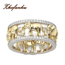 Pure Copper Antique 3 Color  Lucky 3D  Elephant Ring  Romantic   Zircon  Ring   For Man/Woman  Jewelry Drop Shipping