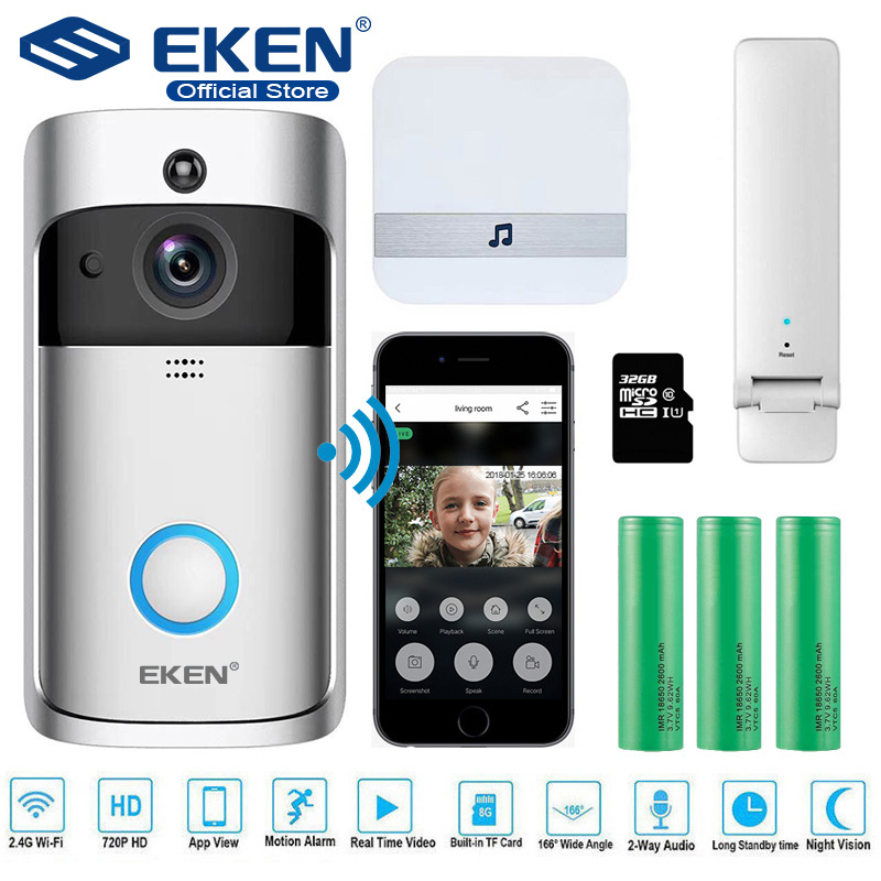 EKEN V5 Video Doorbell Smart Wireless WiFi Security Door Bell Visual Recording Home Monitor Night Vision Intercom door phone(China)
