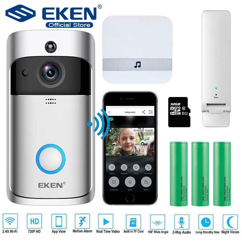 EKEN V5 Vídeo Campainha Inteligente Visual Campainha Da Porta de Segurança Wi-fi Sem Fio Monitor de Visão Noturna Intercomunicador do telefone da porta De Gravação Em Casa