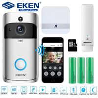 Eken v5 campainha de vídeo inteligente sem fio wi fi campainha da porta segurança gravação visual monitor casa visão noturna intercom telefone da porta