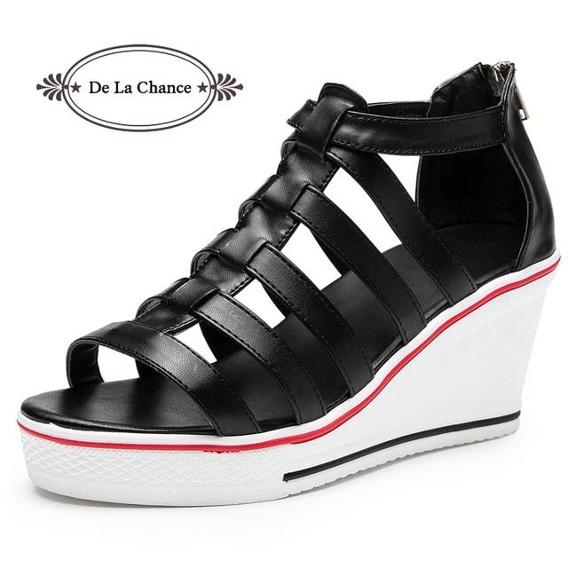 b9a058b01c8f De La Chance Fashion Women Sandals Summer Shoes Ladies Wedges Open Toe  Thick Heel PU Leather Women Platform Sandals Black White