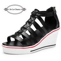 De La Chance Fashion Women Sandals Summer Shoes Ladies Wedges Open Toe Thick Heel PU Leather