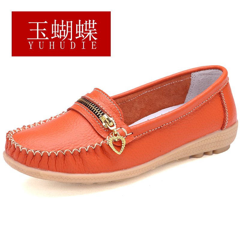 Women Flats 2017 Fashion Genuine Leather Women Loafers Mother Shoes Zipper Slip On Casual Shoes Peas Soft  Moccasins Plus Size casual shoes 2016 fashion genuine leather loafers moccasins slip on flats shoes black golden sliver 3 colors