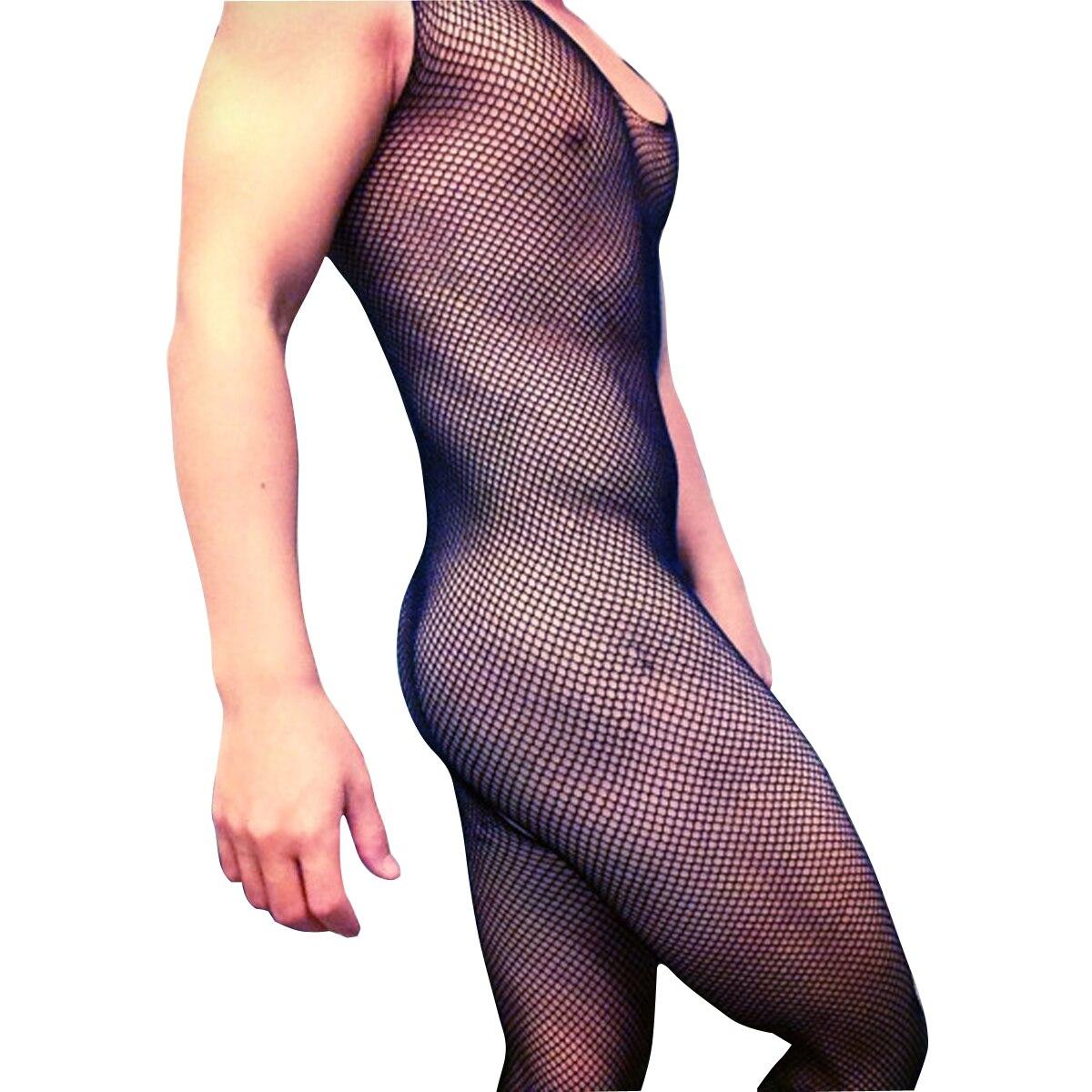 Sexy Men's Fishnet Body Stockings Open-Crotch Mens Pantyhose