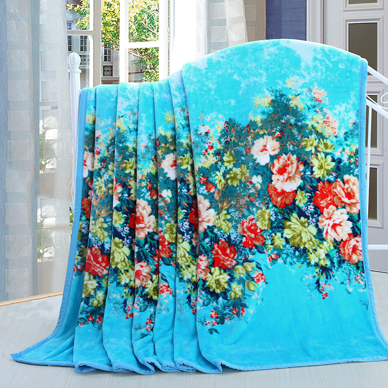 New Alice Flowers Peony Printing Plush Fleece Blanket Bedding Sofa Couch Green Twin Full Queen King Oversized Drop Shipping