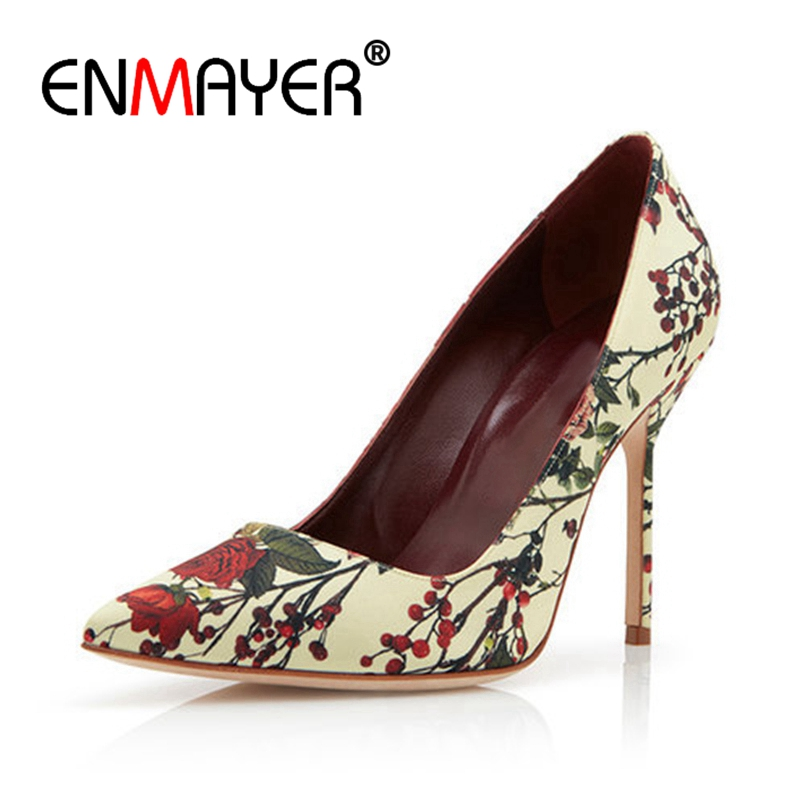 ENMAYER Women Pumps High Heels Shoes Woman Summer Pointed Toe Slip-on Size 34-39 Causal Rose Printed Satin Pumps for woman CR767
