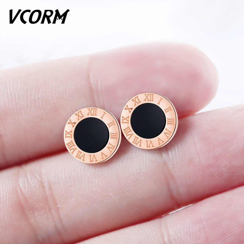 VCORM Stainless Steel Rose Gold Silver Small Stud Earrings for Women Jewelry Fashion Roman Numerals Earring Pendientes Jewelry