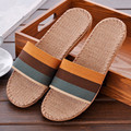 2017 New Spring Summer Autumn Home Linen Striped Slippers Men Indoor\ Floor Breathable Beach Slides Flat Shoes Boys Gift