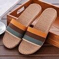 2017 Nueva Primavera Verano Otoño Inicio Zapatillas De Lino A Rayas Hombres Interior \ Piso Transpirable Beach Diapositivas Zapatos Planos Niños Regalos