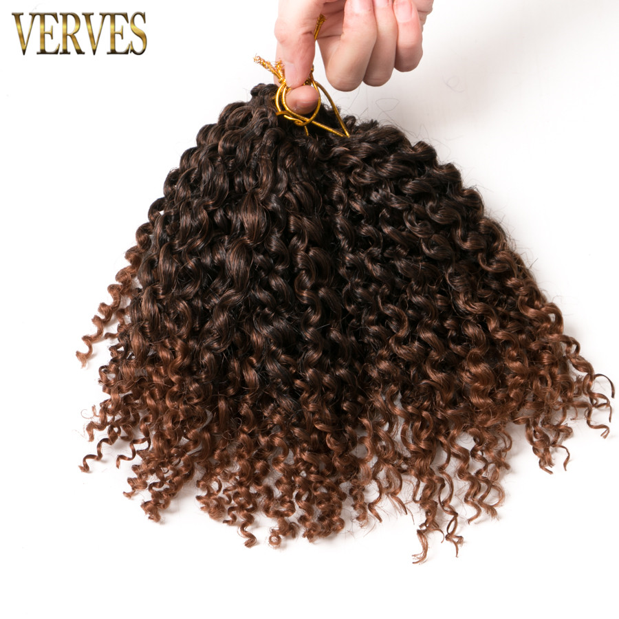 VERVES Curly Crochet Braids Hair 90g/set,3piece/set 8 Inch Synthetic Marly Braid Brown Ombre Braiding Hair Extentions