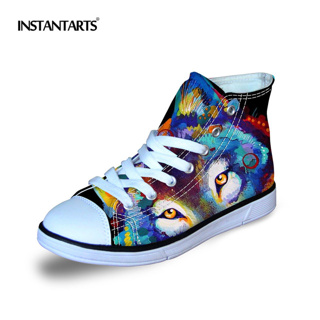 INSTANTARTS Breathable Kid Sport Shoes 3D Art Painting Printing High Top Canvas Shoes Girls Boy Comfort Flats Sneakers Childrens