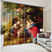 2017 Oil Painting Blackout Curtains Bedding Room Living Room Cortians Sunshade Window Curtain 3D Curtains
