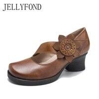 Real Leather Flower Vintage Chunky High Heels Vintage Handmade Shoes Woman Original Designer Round Toe Platform