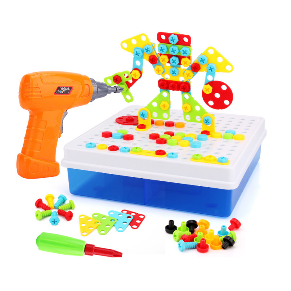 149/193Pcs Kids Drill Toys Creative Educational Toy Electric Drill Screws Puzzle Assembled Mosaic Building Boy Pretend Play Toy