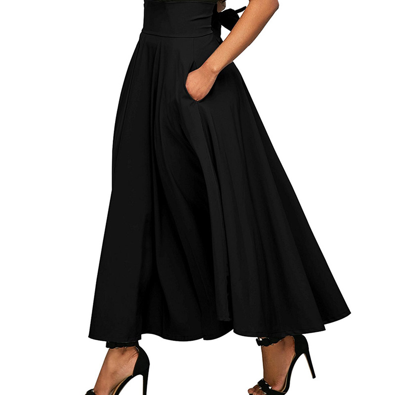 Ladies Long Skirts Womens High Waist Pleated Skirt Front Slit Belted Bowknot Maxi Skirt Faldas Mujer Wine Red Black Jupe Femme