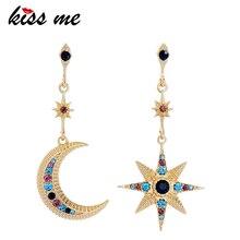 KISS ME Star Moon Crystal Earrings Gold Color Zinc Alloy Fashion Asymmetric Dangle Earrings Women Jewelry цена