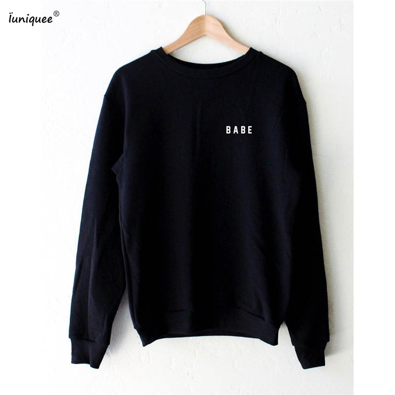 2017 spring women fashion hoodies BABE letters print long sleeve sweatshirt crewneck pul ...