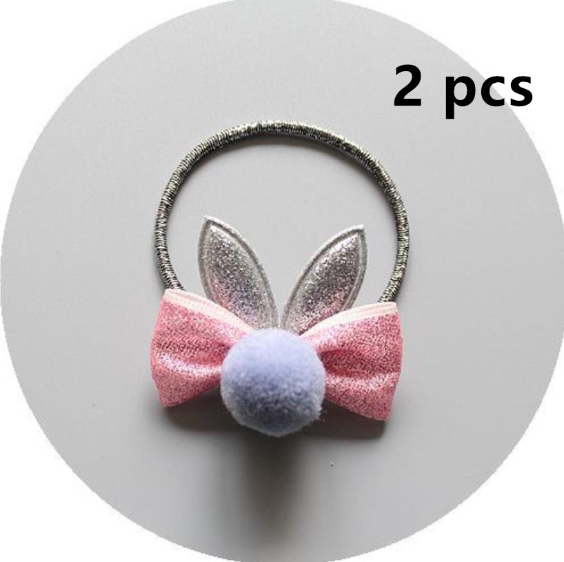 NEW Kids cartoon pompom ball hair bow elastic hair band girls rubber band girl bunny ears hair clip toddlers hair accessories in Hair Accessories from Mother Kids