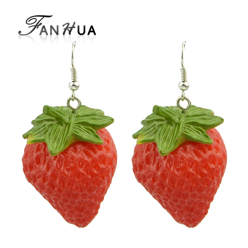 Fanhua Red Strawberry Drop Earrings Large Bijoux Femme For Women Cheap  Costume Jewelry Silver Color Wholesale
