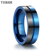 Tigrade Black Blue Titanium Steel Ring Men Matte Engagement Anel Masculino Rings For Male Wedding bague Anillos Hombre Jewelry