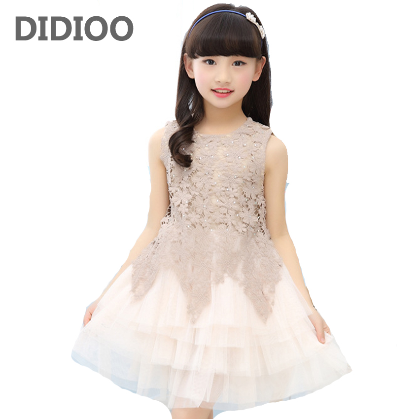Girls Dresses Summer 2017 A-Line Girl Princess Dress High Quality Cotton Children Clothing Patchwork Lace Dresses For Girls