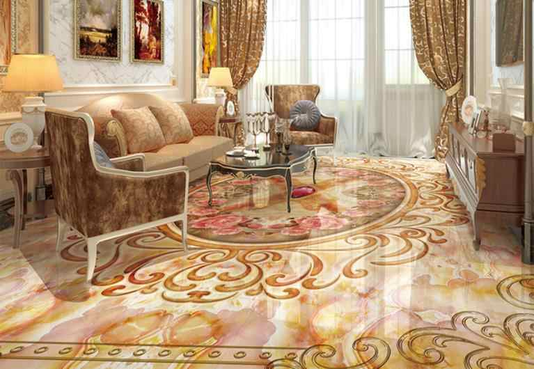 Revêtement de sol 3d de luxe en marbre motif pierre 3d papier peint 3d pvc revêtement de sol papier peint pour murs 3 d peintures décoratives
