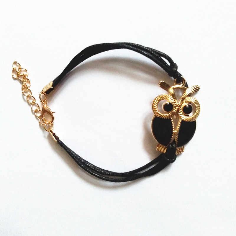 Moda zwierząt bransoletka dla kobiety wosk ciąg bransoletka sznurkowa kroplówki oleju sowa KC złoty kolor sowa bransoletka biżuteria hurtownie 10 sztuk/partia