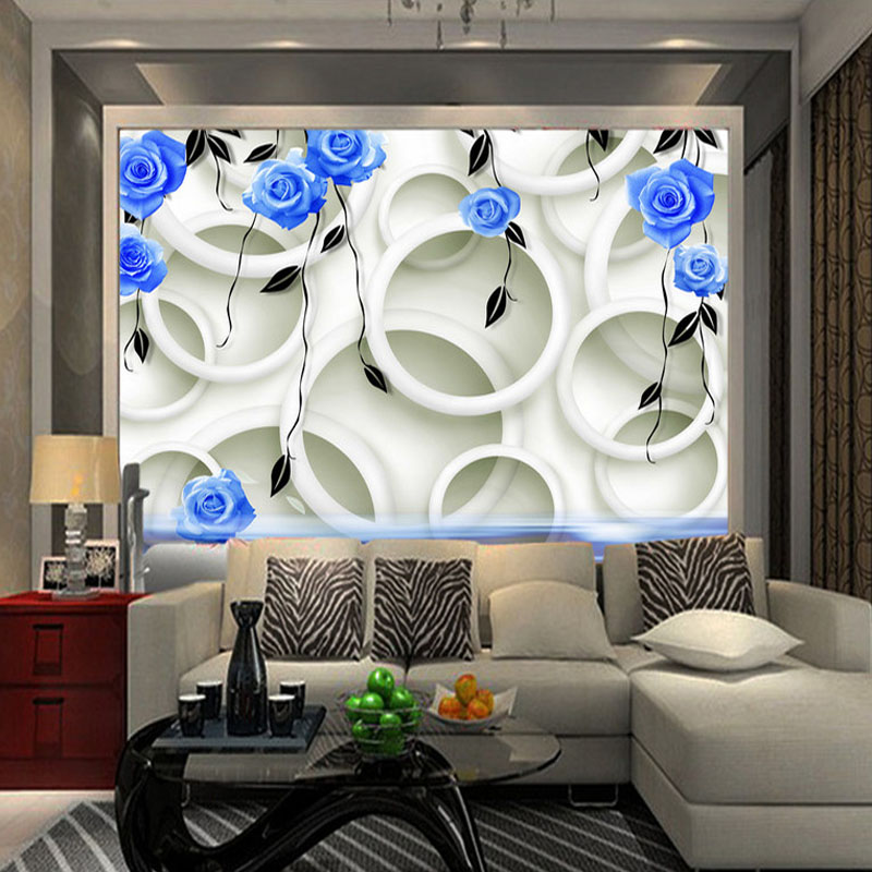 Custom 3D Photo Wall Paper Modern 3D Fashion Wallpaper Blue Roses Reflection Murals TV Background Wall Paper For Living Room custom 3d photo wallpaper for walls 3 d wall murals wallpaper 3d european style white building palace living room tv wall paper