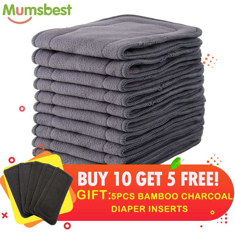 [Mumsbest] Buy 10 Get 5 FREE Charcoal Bamboo Insert  Cloth Diaper Mat Soft Nappy High Absorbent Keep Dry Fast 4 Layers Insert