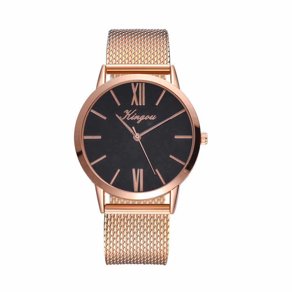 Kingou Rose Emas Baru Jam Tangan Wanita Stainless Steel Band Watch Fashion dan Kasual Dropshipping Wanita Jam Tangan Wanita Jam Montre femm