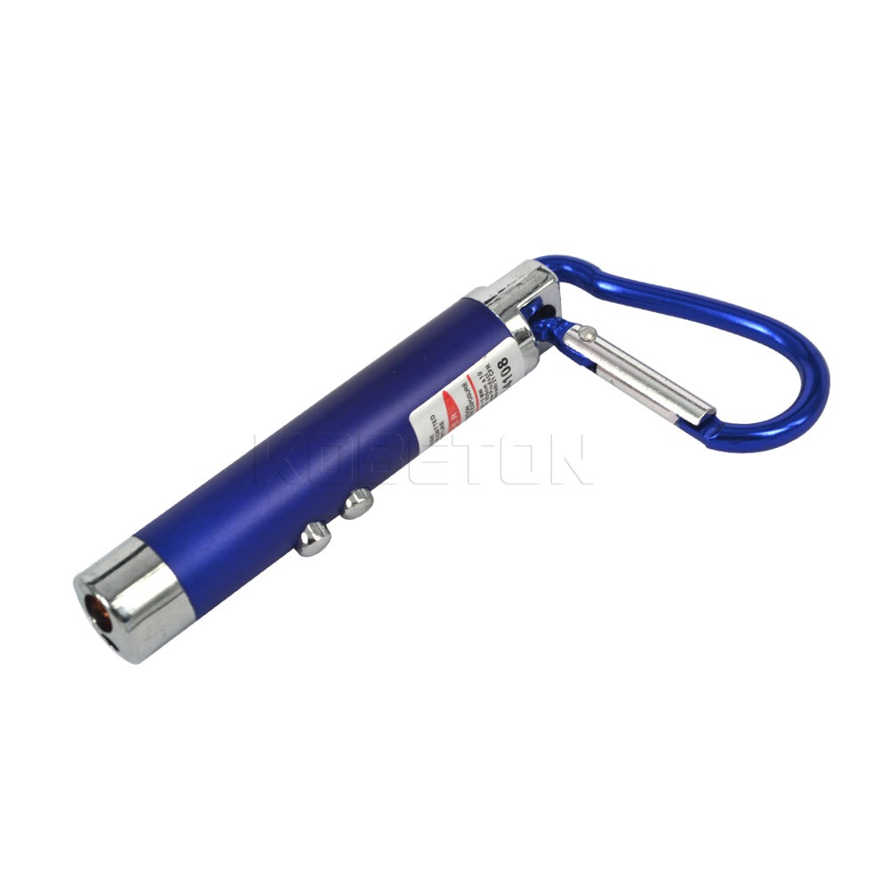 LED Lazer 3 in 1 Mini Red Laser Pointer 2 LED Flashlight UV Torch With Keychain